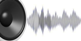 haut-parleur du rendu 3d et onde sonore sur le fond blanc Photos stock