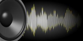 haut-parleur du rendu 3d et onde sonore sur le fond noir Images libres de droits