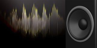 haut-parleur du rendu 3d et onde sonore sur le fond noir Image stock
