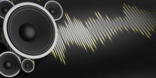 haut-parleur du rendu 3d et onde sonore sur le fond noir Photographie stock