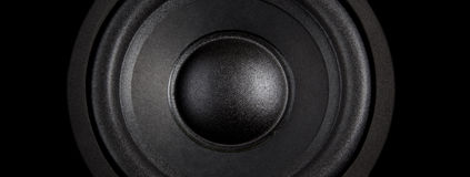 Haut-parleur noir au loin Image libre de droits