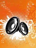 Haut-parleur orange grunge de réception Photographie stock libre de droits