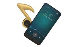 Haut-parleur sur la note de musique et le concept d'audio de Smart-téléphone illustrat 3d illustration stock