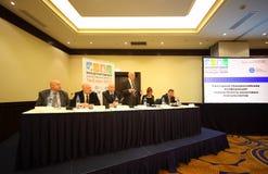 Haut-parleur sur le congrès international d'impôts Photos libres de droits