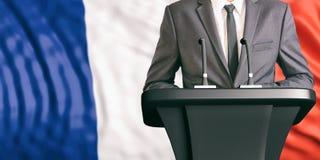 Haut-parleur sur le fond de drapeau de Frances illustration 3D illustration de vecteur