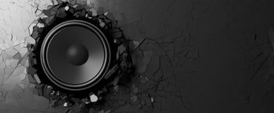 Haut-parleur sur un fond noir de mur illustration 3D Photographie stock