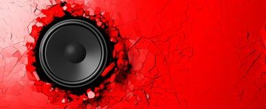 Haut-parleur sur un fond rouge de mur illustration 3D Photos libres de droits