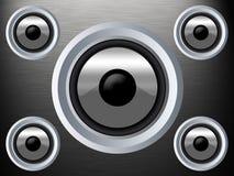 Haut-parleur sur une texture argentée en métal images libres de droits