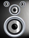 Haut-parleur sur une texture argentée en métal Photographie stock libre de droits