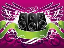 Haut-parleurs à ailes de musique Photographie stock libre de droits