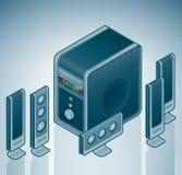 Haut-parleurs à la maison de cinéma de l'ordinateur 5+1 Image stock
