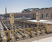 Haut-parleurs à St Peters Square, Vatican Photographie stock
