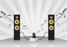 Haut-parleurs, amplificateur et téléphone portable réglés de fidélité Photo stock