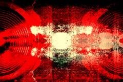 Haut-parleurs audio grunges sur un mur criqué Photo stock