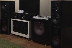 Haut-parleurs avant des 7 1 système de son de haute fidélité de THX Image libre de droits