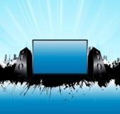 haut-parleurs bleus d'horizon de musique de panneau urbains Image stock
