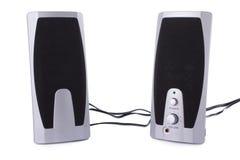 haut-parleurs d'isolement par ordinateur blancs Photo stock