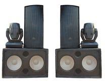 Haut-parleurs de concert puissant d'étape et projecteurs audio de projecteur Photos libres de droits
