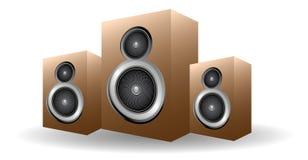 Haut-parleurs en bois Photographie stock
