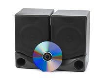 Haut-parleurs et Cd de musique Photos stock