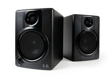 Haut-parleurs noirs de studio Photos stock