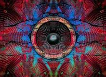 Haut-parleurs rouges de musique sur un mur criqué Photos stock