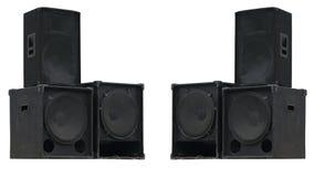 Haut-parleurs sonores de vieux concert puissant d'étape d'isolement Photo libre de droits