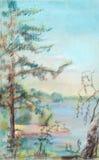 Été, la rivière Volga. Illustration de Vecteur