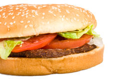 Haut proche d'hamburger Photos stock