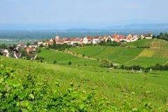 Haut Rhin,美丽如画的市Zellenberg在阿尔萨斯 免版税图库摄影