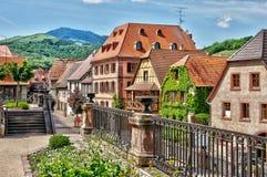 Haut Rhin, Bergheim村庄在阿尔萨斯 免版税库存照片