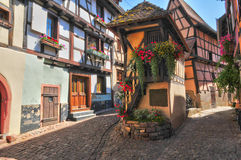 Haut Rhin, the picturesque village of Eguisheim Stock Photography