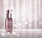 Haut-Toner-Flaschen-Rohr-Schablone für Anzeigen oder Zeitschriften-Hintergrund lizenzfreie abbildung