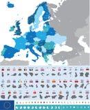 Haute carte détaillée d'Eirope Images libres de droits