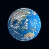 haute carte détaillée de la terre, Chine, australie, illustration stock