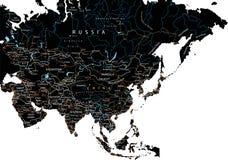 Haute carte de route détaillée de l'Asie avec l'étiquetage - noir illustration de vecteur