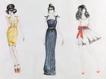Haute couture stock illustrationer
