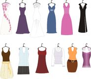 Haute Couture. An image showing different types of clothes for women and teenagers Stock Images