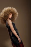Haute Couture. Fashion Woman with Fancy Hairstyle Royalty Free Stock Photo