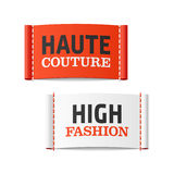 Haute Couture and High Fashion clothing labels Stock Images