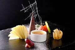 Haute cuisine, dessert Creme brulee Stock Images