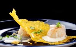 Haute cuisine, Gourmet food scallops on a corn Royalty Free Stock Photos