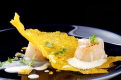 Haute cuisine, Gourmet food scallops on a corn Stock Photos