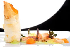 Haute cuisine, pink salmon fillet with caviar Stock Photo