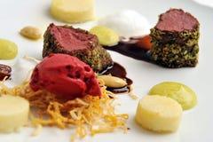 Haute cuisine, roast beef with potato Stock Photography