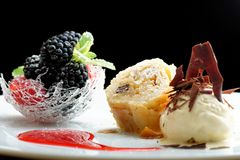 Haute cuisine, strudel  with ice cream and berries dessert on restaurant table. Shallow focus depth Stock Photos
