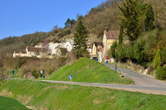 Haute Isle, France - february 29 2016 : picturesque village in w. Haute Isle, France - february 29 2016 : the picturesque village in winter Royalty Free Stock Image