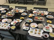 Haute Japanese cuisine assortment for a kaiseki meal royalty free stock images