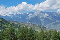 Haute-Nendaz in a summer day. This picture was taken when I was doing hiking in the Bisse de Vex Royalty Free Stock Photos