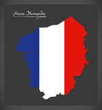 Haute-Normandie map with French national flag illustration. In artwork style Stock Photos